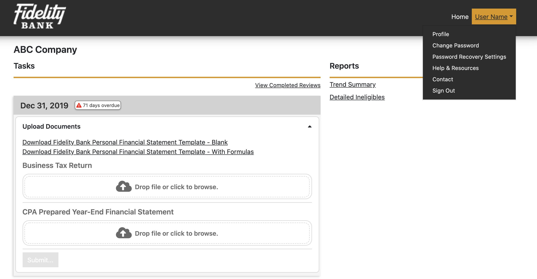 Fidelity Bank Covarity Client Portal