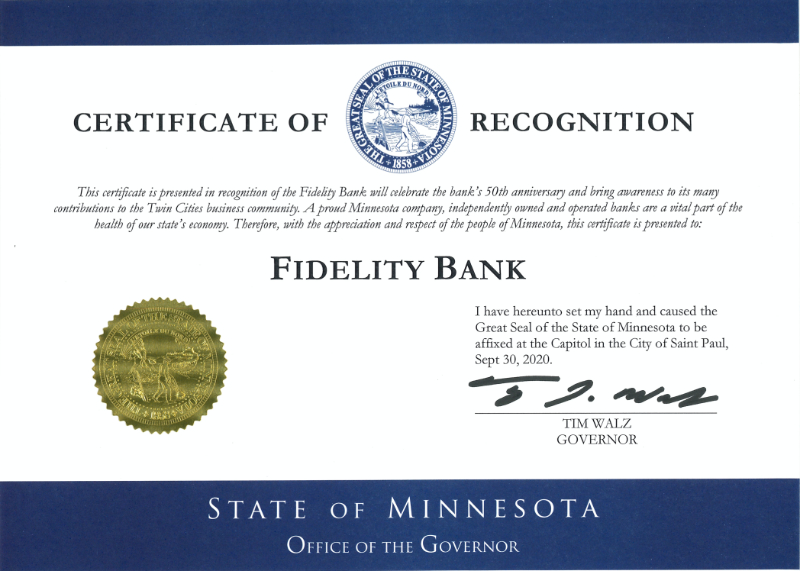 Image of Certificate of Recognition presented to Fidelity Bank by the MN Governor's Office
