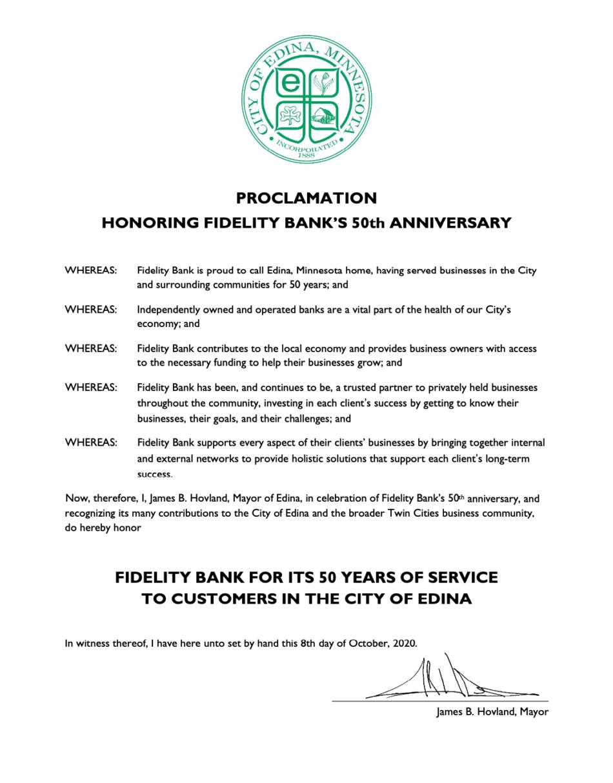 City of Edina Proclamation honoring Fidelity Bank's 50th Anniversary